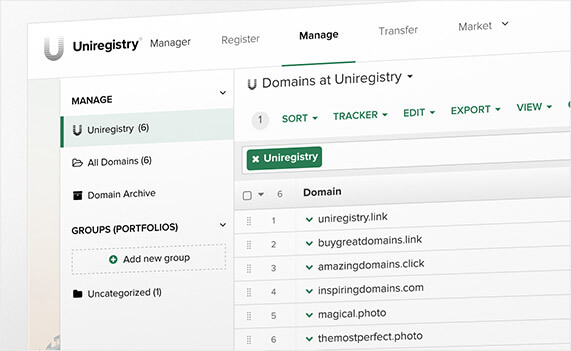 Uniregistry - Screenshot